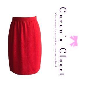 St John Evening Red Santana Knit Skirt